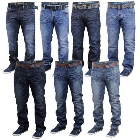 Casual Denim Pant mens denim crosshatch bottoms trousers free belt