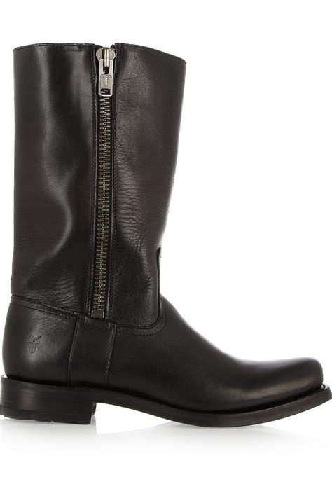 frye heath leather boots in black lyst