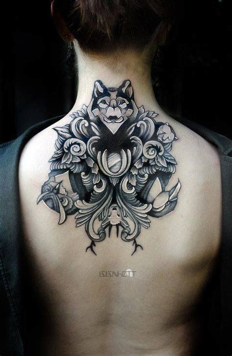 wolf neck tattoo gorgeous neck back wolf owl deer