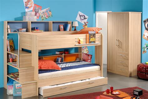 Bunk Bed For Children Lively Colorful Boys Room Space Saving Bunk Bed Designs