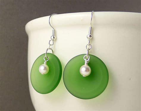 Handmade Sea Glass Jewelry - green sea glass earrings green seaglass jewelry handmade