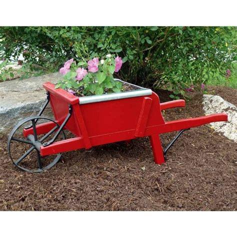amish red mini wooden wheelbarrow planter outdoor decor