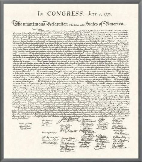 printable declaration of independence declaration of independence framed canvas print at art com
