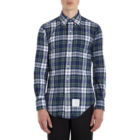 Flannel Topman Kemeja Topman Blue Patch thom browne plaid flannel shirt in blue for navy lyst