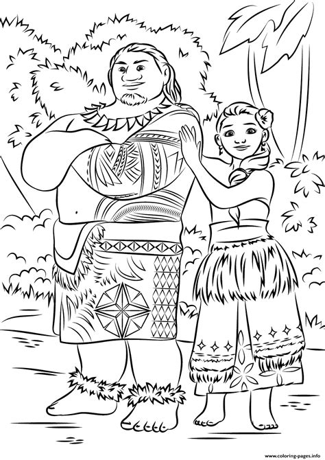 disney moana coloring pages tui and sina from moana disney coloring pages printable