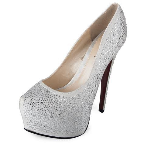 white womens sole rhinestone platform heel