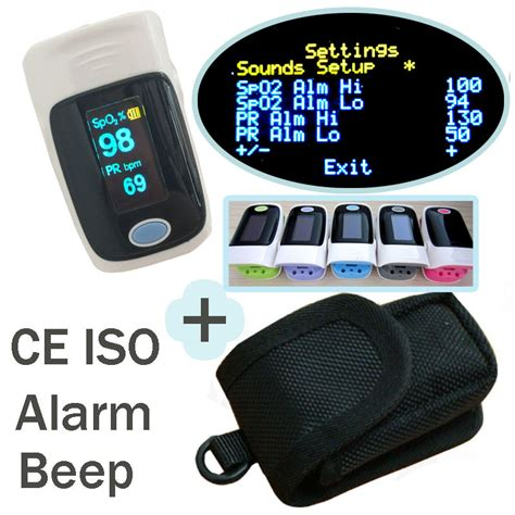 Set L Sound The Alarm 1 with pouch with setting alarm beep fingertip pulse oximeter spo2 pulse rate oxygen monitor sound
