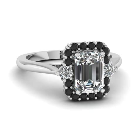 black engagement rings emerald cut diamondstud