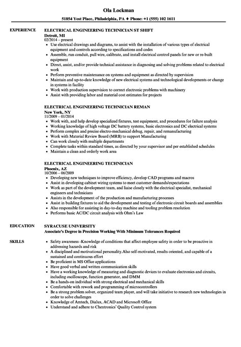 resume format for electrical technician electrical engineering technician resume sles velvet