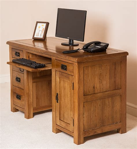 rustic home office desk cotswold rustic solid oak pc computer home office desk
