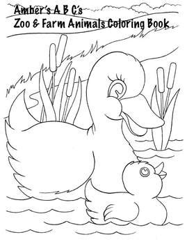 Free Farm and Zoo Baby Animals Coloring Book by Amber