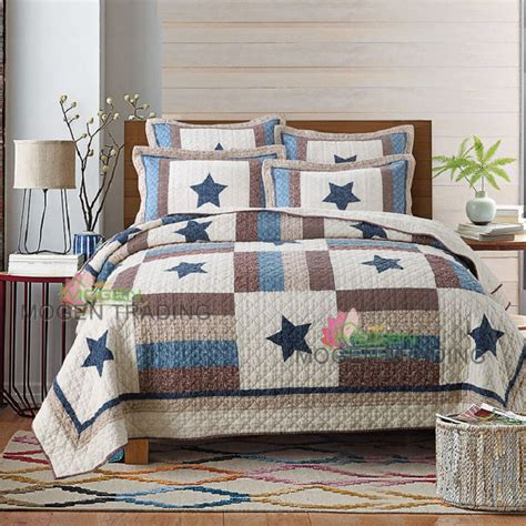 Handmade Quilted Bedspreads - chausub handmade patchwork quilt set 3pcs coverlet washed