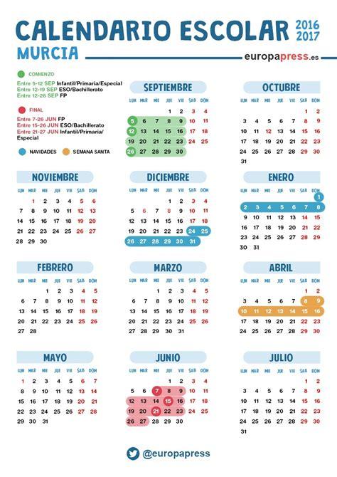 Calendario Cartagena Calendario Escolar 2016 2017 En Murcia Navidad Semana