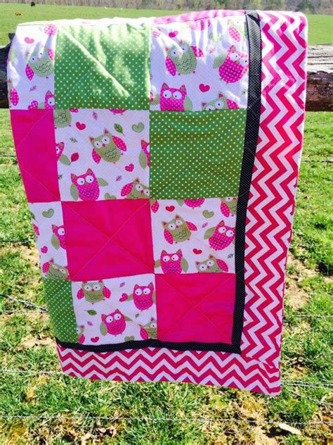 Pink Chevron Quilt by Owl Crib Quilt In Pink Chevron Warm Quilt And Pink Owl