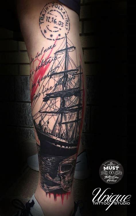 trash polka boat trash polka tattoo sailing ship third award tattoo