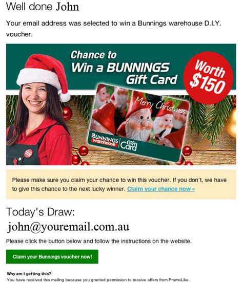 Bunnings Gift Card - bunnings is aware that it is being misrepresented by scam emails