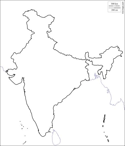 India Maps Outlines Blank free coloring pages of india political outline