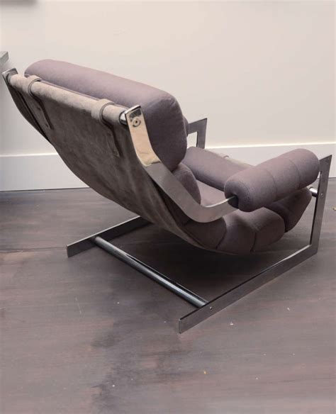 sling ottoman sling chair ottoman with chrome frame for sale at 1stdibs