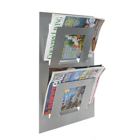 Magazine Rack by Wall Mounted Two Tier Magazine Rack By The Metal House