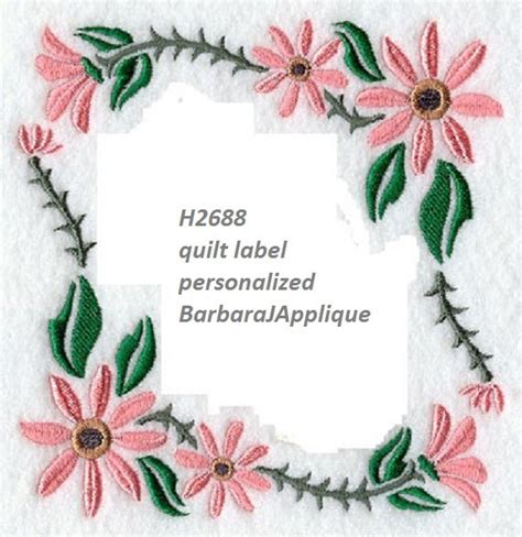 Machine Embroidery Quilt Labels by Quilt Label H2688 Machine Embroidered Personalized
