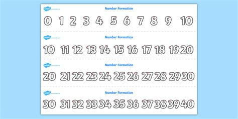 new year eyfs twinkl number formation strips 0 40 number formation number