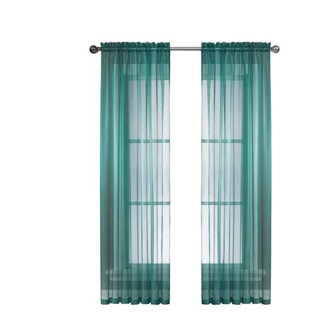 Grey And Teal Curtains Window Elements Sheer Grey Teal Rod Pocket Wide Curtain Panel 56 In W X 95 In L
