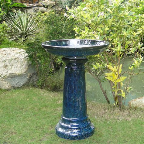 cobalt blue bird bath