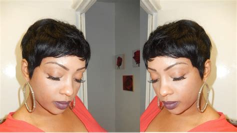 black women with 29 peice hairstyle pixie short wig using 27 piece hair tutorial youtube