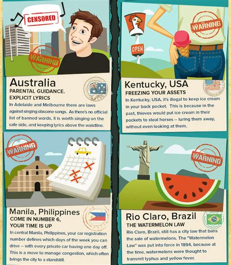 Strangest Laws In The World by Infographic 18 Strange Laws From Around The World