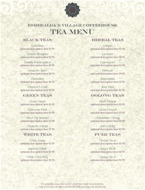 tea house menu tea house menu tea menus