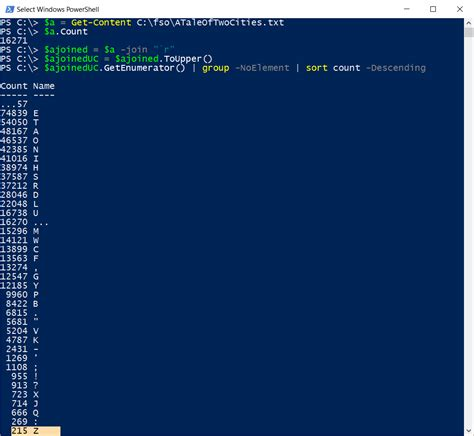 Letter Frequency letter frequency analysis of text by using powershell