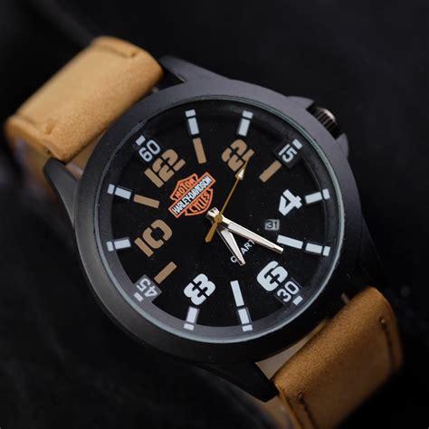 jual jam tangan pria harley davidson  date kulit logo