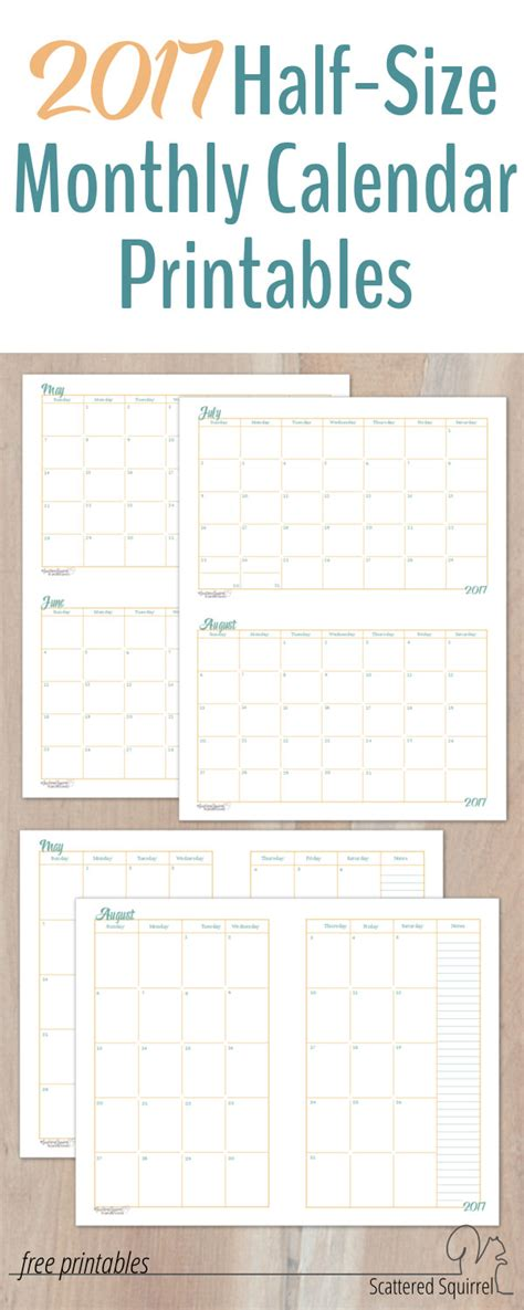 free printable planner a5 2017 half size monthly calendar printables a5 planners