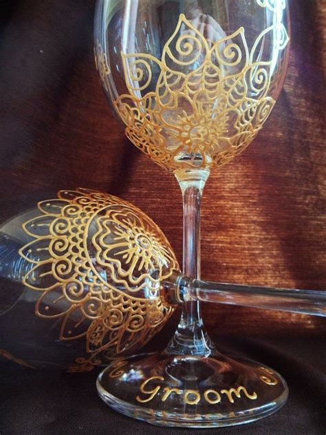 henna design on glass bridal party gift one of a kind wine glass 2