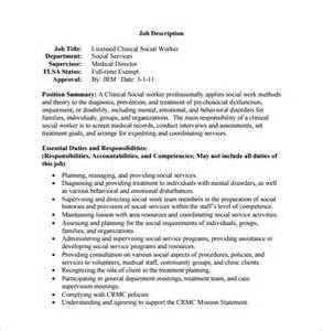 Clinical Supervisor Description by 9 Social Worker Description Templates Free Sle Exle Format Free