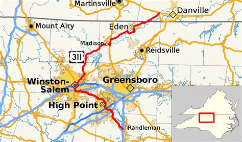 high point nc map u s route 311