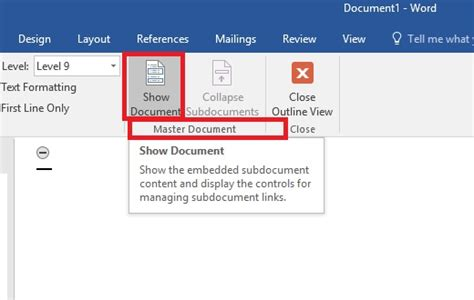 word layout master ms word 2016 creating master document and sub documents