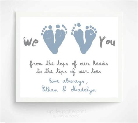 father s day gift from twins or siblings gift for new dad we love you baby footprint art