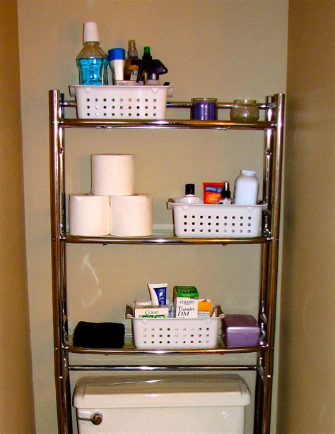 Ideas Bathroom Cabinet Organizers Saving Small Bathroom Spaces Using Stainless Steel Vertical Rack Towel Makeup And Tissue