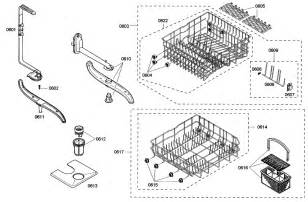 Bosh Dishwasher Parts Baskets Diagram Parts List For Model She43m02uc50 Bosch