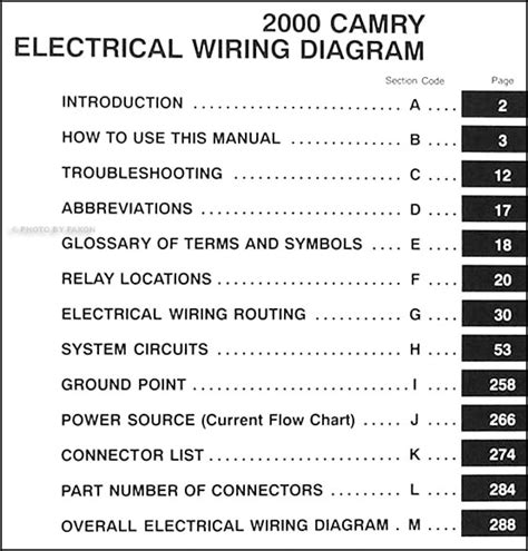 2000 toyota camry electrical wiring diagram manual