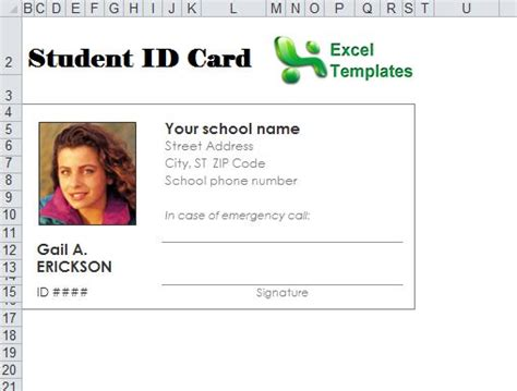 picture id card template student id card template student id card maker