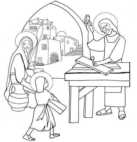 coloring page of the holy family the holy family