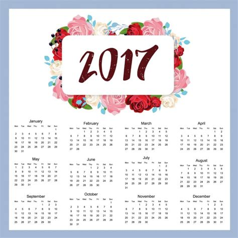 design kalender vector 2017 kalender ontwerp vector gratis download