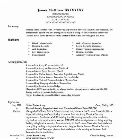 3 enlisted resume exles law enforcement and security