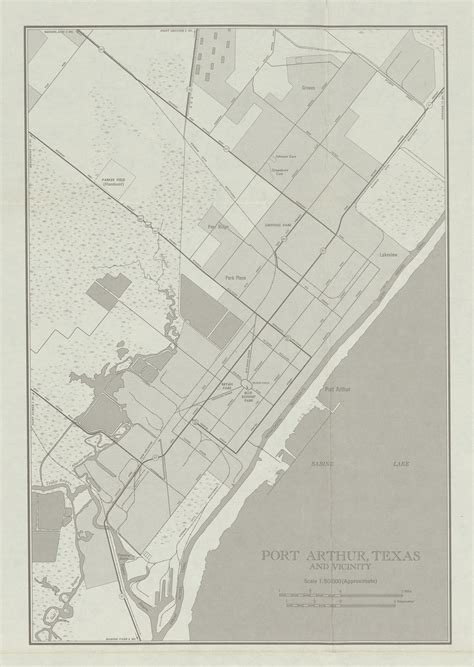 city map of port arthur and vicinity texas united states 1950 size