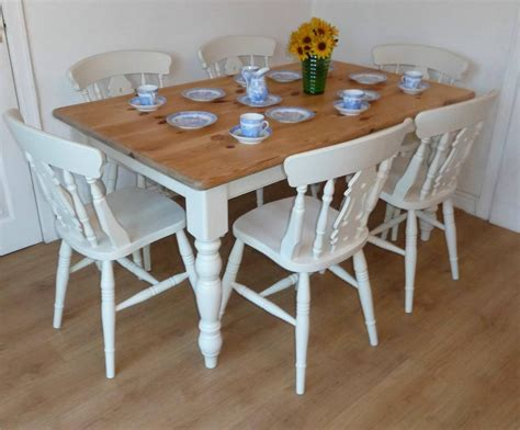 shabby chic farmhouse painted pine table and 6 chairs ebay