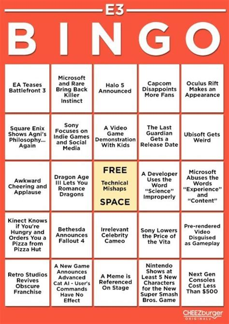 e3 bingo card template get ready for e3 2013 with e3 bingo card custom bingo