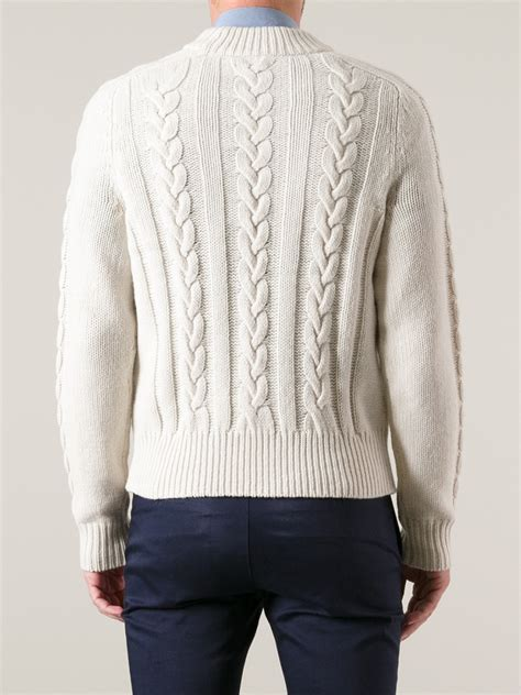 mens white cable knit sweater acne studios brent cable knit sweater in white for lyst