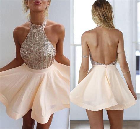 Sequin Halter Mini 2018 Homecoming Dresses Cute Sleeveless Short Summer Gowns BA3349 2018 Short